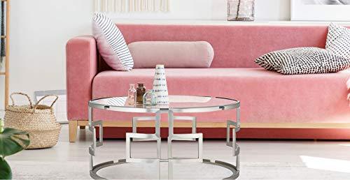 VERJE Design Couchtisch Messing, runder Glastisch, moderner Wohnzimmertisch, großer Beistelltisch, eleganter Kaffeetisch mit Glasplatte, Silber 50X50 cm