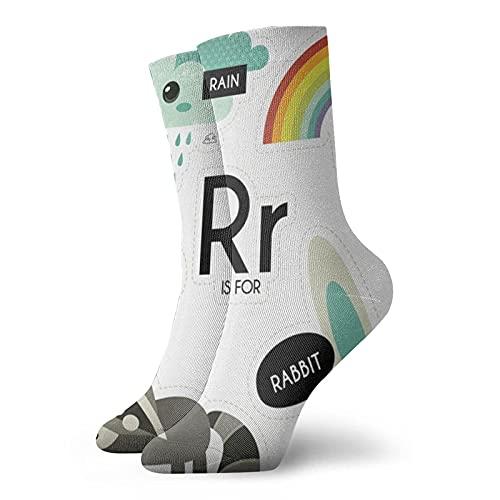 Yuanmeiju Calcetines de compresión Abc para educación con letra R para niños, calcetines deportivos personalizados deportivos de 30 cm de largo para hombres y mujeres