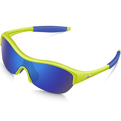 TOREGE TR90 - Gafas de sol polarizadas flexibles para niños y niñas de 3 a 10 años TR041, Unisex adulto, ., Lente fluorescente verde y azul.