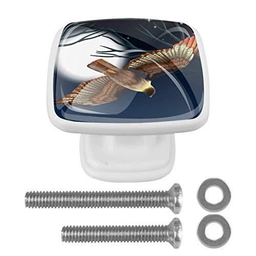 (Set of 4) Packs Kitchen Cabinet Knobs Cupboard Handles Door Knobs Dresser Drawer Handles Knobs for Dresser Drawers Bird Flying Night Scene