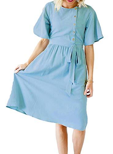 Dames jeansjurk korte mouwen elegante vintage denim sling lange rok knielange modieuze zomerjurk ronde hals casual slank avondjurk blousejurk blauw