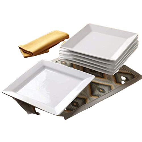 Better Homes and Gardens Square Porcelain Dinner Plates, White, Set of 6