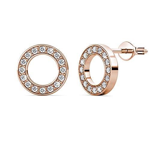 MYC Paris – Pendientes Annulus – Latón + chapado en oro de 18 quilates – Circonitos – Regalo de cumpleaños, día de la madre, Navidad – Color oro rosa