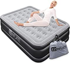 EZ INFLATE Luxury Double High Queen Air Mattress with Built in Pump, Queen Size, Inflatable Mattress for Home Camping Travel, Luxury Blow up Bed
