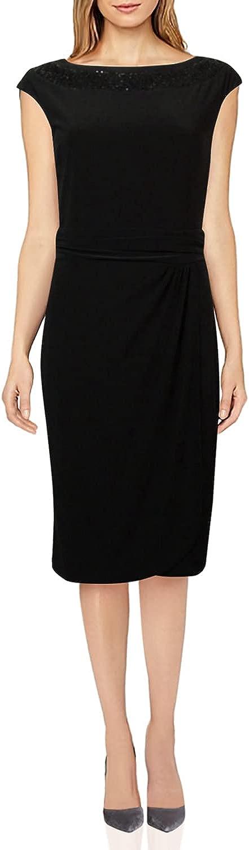 American Living Women's Sequined Bateau Faux Wrap Dress