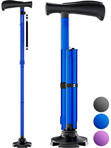 HoneyBull Walking Cane for Men & Women | Free Standing, Foldable, Pivot Tip [Blue]
