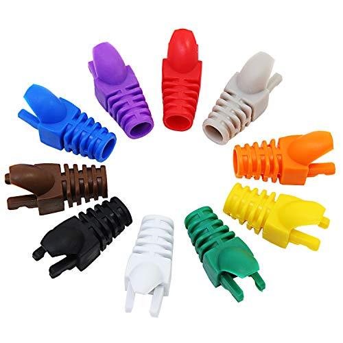 Aussel RJ45 Stiefel bedecken weiche Plastik Ethernet-Netz-Stecker-Hüllen-Kabel-Enden-Stecker-Verbindungsstück-Abdeckungs-Aufladungen Kappe 100PCS (gelegentliche Farbe) (Style 1)