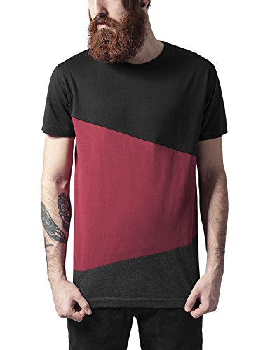 Urban Classics Long Shaped Zig Zag tee Camiseta, Multicolor (blk/Burgundy/cha), S para...