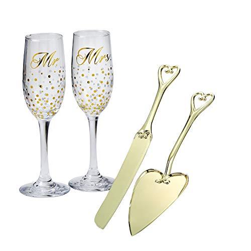Golden Splendor Mr & Mrs Glass Toasting Set With Gold Plated All Metal Cake Knife Set