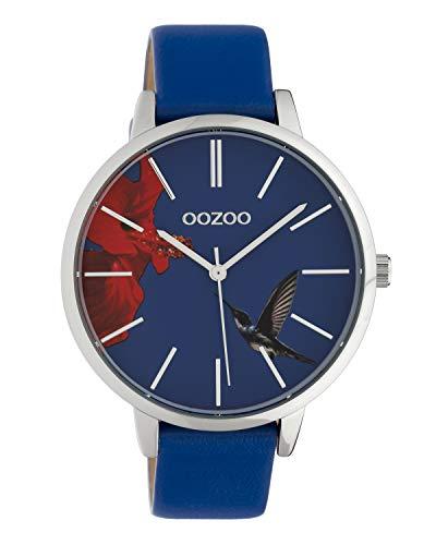 Oozoo Damenuhr mit Lederband 42 MM Colours of Summer Blume und Kolibri Blaues Zifferblatt C10184