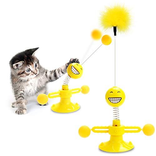 AVNICUD Katzenspielzeug, Katzen Spielezeug, Interaktives Katzenspielzeug mit Feder Ball Federspielzeug Katze Drehbare, Windmühle Katzenspielzeug, Katzenspielzeuge mit Saugnapf und Klebepad