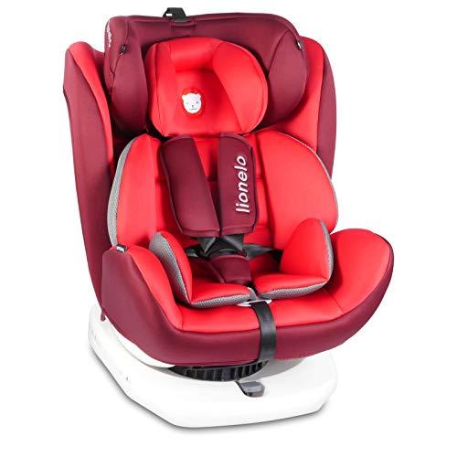 Lionelo Bastiaan Kindersitz Auto Kindersitz Isofix und Top Tether Kindersitz Drehbar um 360 Grad Autositz Gruppe 0 1 2 3 ab Geburt bis 36 kg TÜV SÜD ECE R 44 04 (Rot)