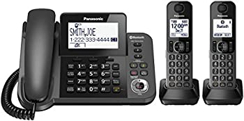 PANASONIC Bluetooth Corded / Cordless Phone System with Answering Machine Enhanced Noise Reduction and One-Touch Call Block - 2 Handsets - KX-TGF382M  Metallic Black