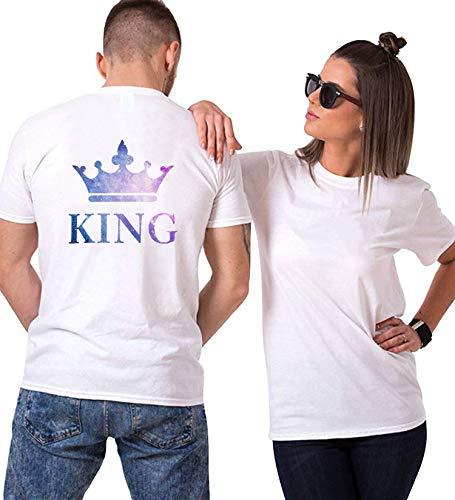 Rey y Reina Couple Pareja T-Shirt,Camiseta de Algodón de Manga Corta,Dulce para Parejas como Regalos (1 Pieza)