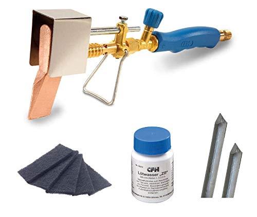 CFH Set Kupferlötkolben Stangenlötzinn Zinkblech Lötwasser und Reinigungsvlies