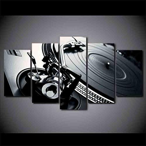 GHTAWXJ Hd Gedrukt 5 Stuk Canvas Art Dj Muziek Cd Speler Schilderen Modulaire Wandfoto's Voor Woonkamer