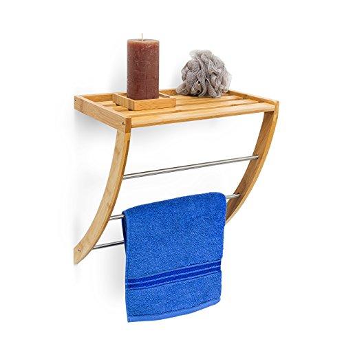 Relaxdays Wandhandtuchhalter mit 3 Handtuchstangen HBT 40 x 38 x 24,5 cm,Holz, Naturbraun
