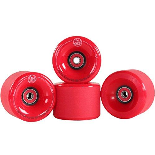 SLICKstuff 4X Stück Longboard Freestyle Rollen Wheels 70mm 78A + ABEC9 Kugellager + Spacer, Farbe:rot
