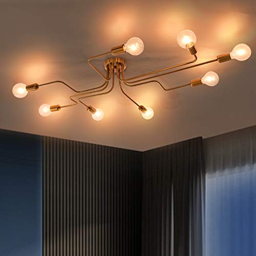 OYI Moderno Lámparas de araña Metal Iluminación de techo Oro 8 E27 Lámpara para la sala de estar dormitorio restaurante Cafe (Sin bombilla)