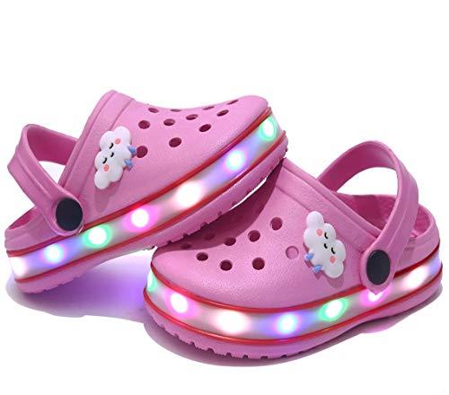 Kinder Jungen Mädchen LED Clogs Süße leichte Sommer Hausschuhe Garden Beach Sandalen Pink 32 EU