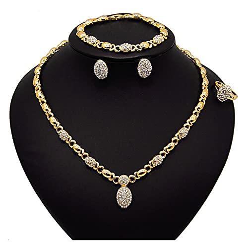 DSJTCH Nuevo Cristal DE Alta Cristal X O E Pendientes de Color Oro Collar de Color Anillo de la Boda Conjuntos de joyería (Length : 45cm, Metal Color : Gold)