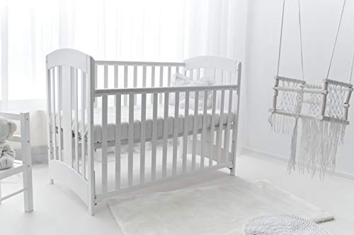 White Wooden Cot Bed'Natalia' Drop Side with Foam Mattress