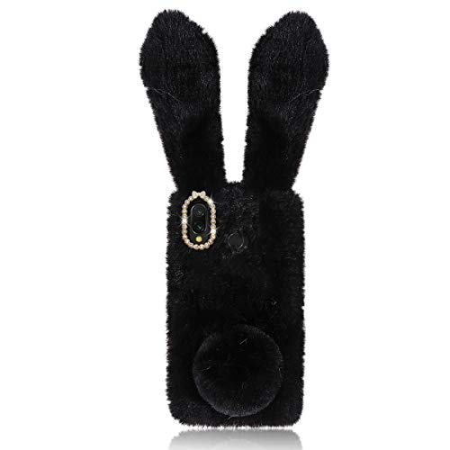 Mikikit Fluffy Bunny Ear Phone Case for Samsung Galaxy A20/A30, Black soft Rabbit Fur Cover with Sparkly Diamond, Anti-Shock TPU Phone Shell animal Protective Case, cute Plush Case for Girl Friends