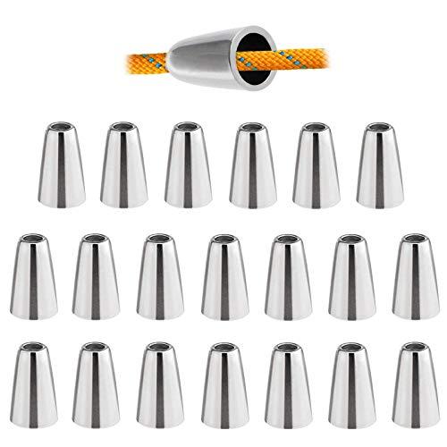 YCZCHE14 Metall Kordel Verschluss Kordelenden Endstück 20 Stück Kordelstopper Kordelendstücke Kordelenden mit 1 Loch für Schnüre Kordeln Fäden von Lanyard Kleidung Rucksack Sportwear Paracord Silber