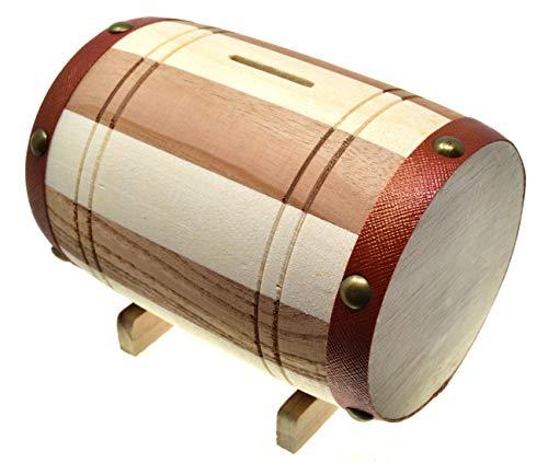 VENTURA TRADING Holzfass Geldbank Fass Sparschwein Sparglas Holzgeldfass Handgemacht Mit Münzschlitz Münzbox Sparbüchse