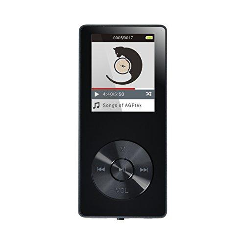 AGPTEK MP3 Avec Haut-Parleur et Ecran Couleurs de 1.8'',Lecteur 8Go MP3 M07, Supporte une Carte Mémoire jusqu'à 32Go(pas inclus), Noir