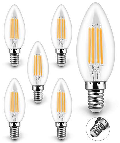 KYOTECH E14 Kerze LED Lampen 4W Ersetzt 40W 400LM 2700K led Glühfaden Warmweiß leuchte C35 LED Kerzenbirnen,LED Lampe Energiesparlampe E14 Abstrahlwinkel 360° Dekorative Beleuchtung 6er Set
