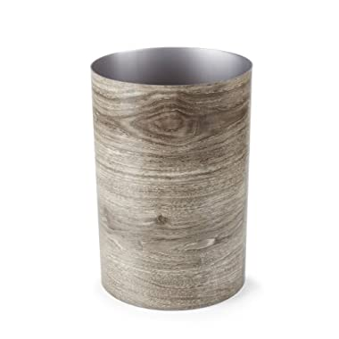 Umbra Treela Small Trash Can – Durable Garbage Can Waste Basket for Bathroom, Bedroom, Office and More, 4.75 Gallon Capacity with Stylish Barn Wood Exterior Finish