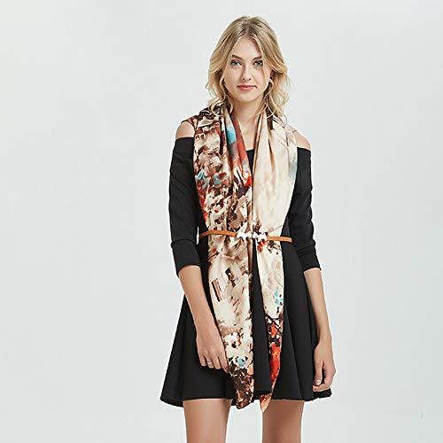 ClothHouse Foulard en Soie De Satin De Polyester Femmes Dames Mode Châles Solaires Enveloppements Légers Anti-Allergiques,Inkwatertown,130 * 130cm