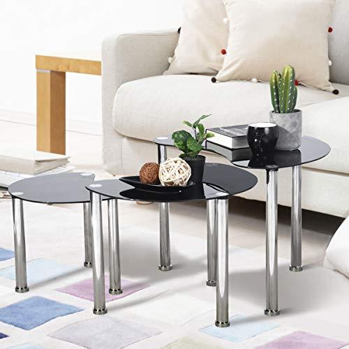 FurnitureR Juego de 3 mesas de Vidrio Templado con estantes de Vidrio y Patas de Acero Inoxidable, Mesa…