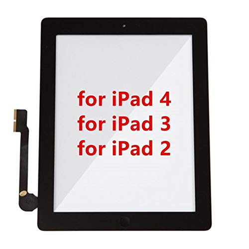 Screen Replacement kit Fit for IPad 2 3 4 Touch Digitizer Assembly with Home Button Flex & Adhesive A1416 A1430 A1403 A1458 Repair kit Replacement Screen (Color : for iPad 2 Black)
