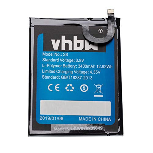 vhbw batteria compatibile con HomTom S8 smartphone cellulare (3400mAh, 3,8V, Li-Poly)