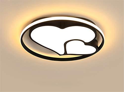 LHY LOFT Heart Shaped LED Enfants Plafonnier,Enfants Chambre Plafonnier,Éclairage pour Enfants,Ultra Mince Creative Side Glow Évider Design,Noir,B:55CM50W