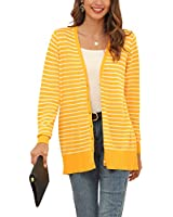 MessBebe Women's Button Down V Neck Cardigan Striped Lightweight Cardigans for Women Spring Classic Long Sleeve Knit