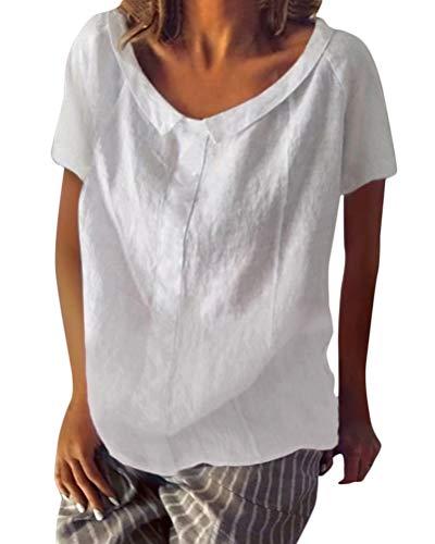 Shallood Camicette Donna Manica Corta Tshirt Tops Camicia Magliette con Scollo a V Slim FCasual Bottone Camicia Manica 3/4 T-Shirt Tops Blusa A Bianco 46