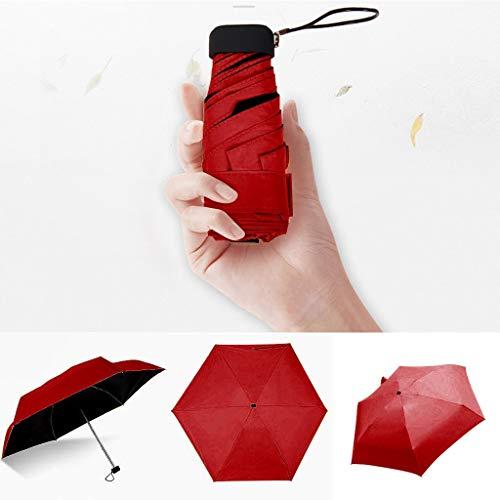 XSWY Las Mujeres Ligera Paraguas Negro Recubrimiento Parasol 5 Veces la Lluvia de Sun Paraguas Unisex Viaje Protable Paraguas de Bolsillo (Color : Rojo)
