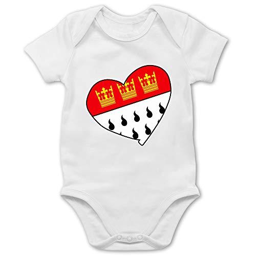 Städte & Länder Baby - Köln Wappen Herz - 6/12 Monate - Weiß - 1fc köln Fanartikel - BZ10 - Baby Body Kurzarm für Jungen und Mädchen