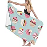 Ewtretr Telo/Asciugamano Mare Vintage Cupcake Cherry Beach Towels Quick Dry Super Absorbent Bathing Spa Pool Towels, 31'x 51'