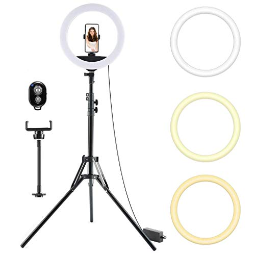 18 '' Ring Light with Stand and Phone Holder, Selfie LED Ring Light With Adjustable Tripod for Live Streaming, Video, Dimmable Desk Makeup Ring Light for Photography, Shooting with 3 Light Modes