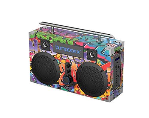 Bumpboxx Bluetooth Boombox Ultra NYC Graffiti   Retro Boombox with Bluetooth Speaker   Rechargeable Bluetooth Speaker