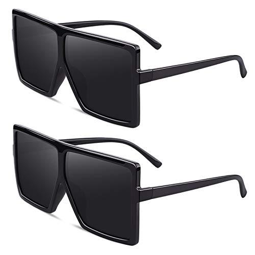 Occhiali da Sole Polarizzati Quadrati Oversize per le Donna, Flat Top Trendy Fashion Donna CG909