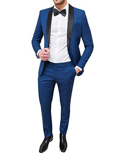 Frank Hommes Costumes 1 Bouton Slim Fit Costume 2 pièces Costume Blazer Jacket Pantalon Set