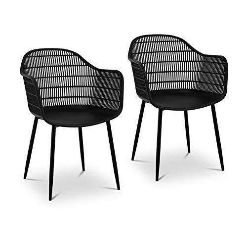 Fromm & Starck Star_SEAT_08 Stuhl 2er Set bis 150 kg Sitzfläche 45 x 44 cm schwarz Kunststoffstuhl Stuhlbeine Metall