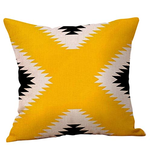 GDBEST Fall Pillow Cover Wave Geometric Pillow Case Simple Style Soft Cotton Linen Creative Square Throw Pillowcase for Sofa Couch Chair Car Seat Home Decor Mustard Yellow Cushion Cover(18' x 18')