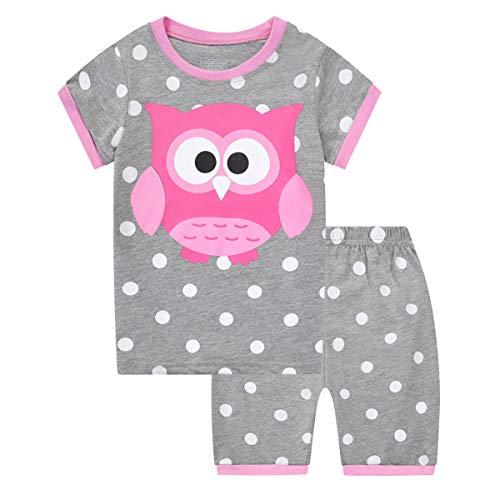 MIXIDON Mädchen Schlafanzug Sommer Kurzarm Mädchen Schlafanzug Zweiteiler Shorty Baumwolle Pyjama für Mädchen 98 104 110 116 122 128 134 140,Pattern5,8 Jahre