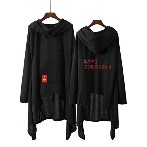 Flyself Unisex Kapuzenpullover Lässiger unregelmäßiger Saum Kleid Langarm Hoodie Sweatshirt Pullover Suga Jimin Jin Jung Jook RM J-Hope V